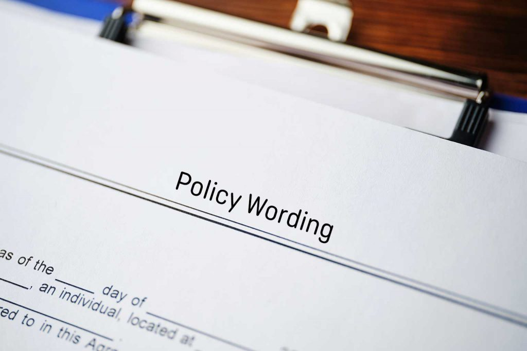 insurance policy wording